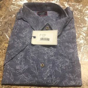Untuckit Shirt Sz XXL short sleeve blue w/wht NWT